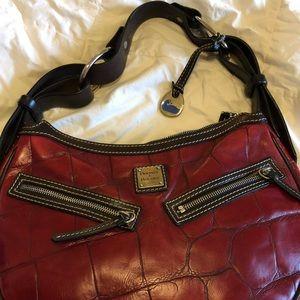 Circle Hobo Croco Leather Shoulder Bag